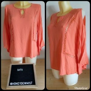CATO Coral Asymmetrical Bell Sleeve Cold Shoulder